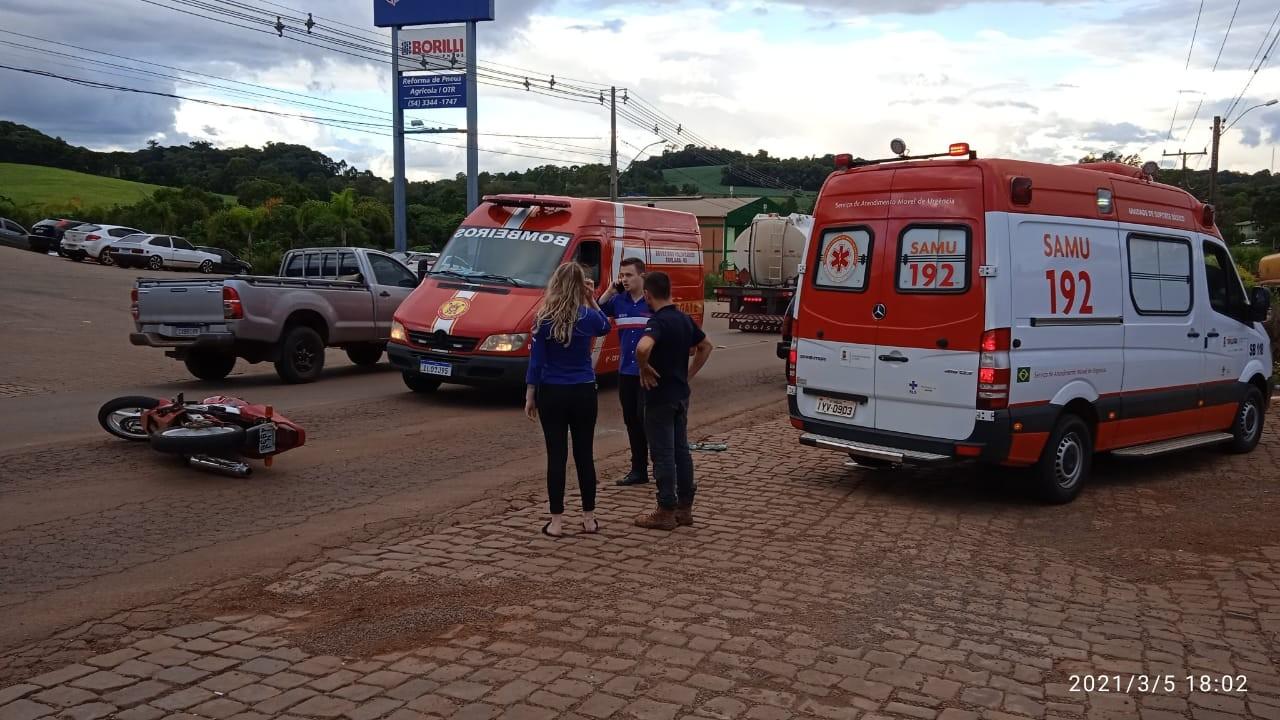 Homem fica com duas fraturas após sofrer acidente em Tapejara